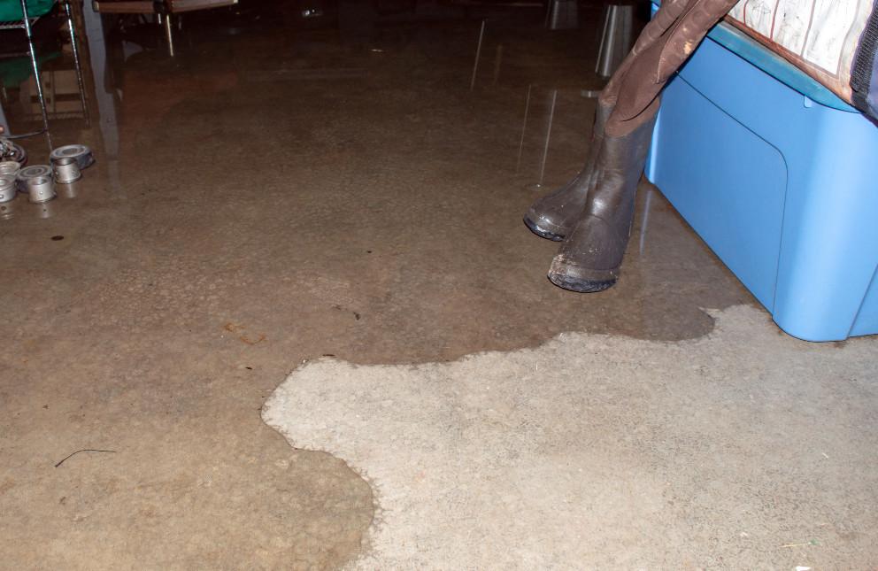seeping water on concrete floor