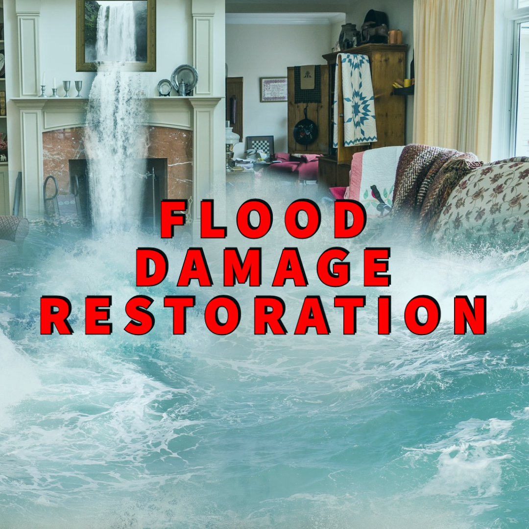 flood damage restoration written over living room with incoming torrents of water