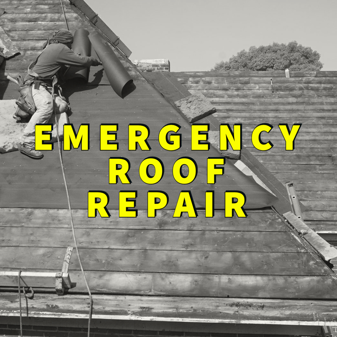 emergency roof repair written over man fixing roof
